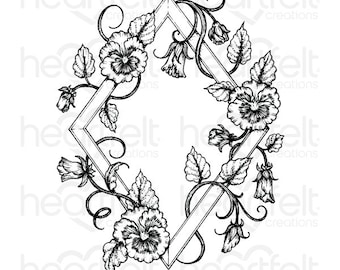 Heartfelt Creations Petite Pansy Frame Cling Stamp Set HCPC-3865