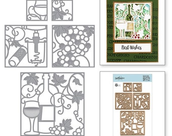 Spellbinders Shapeabilities Wine Snippets Etched Dies by Stacey Caron S5-348