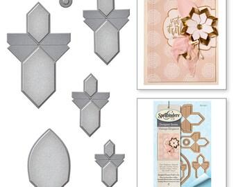 Spellbinders Shapeabilities Amazing Paper Grace Vintage Elegance Becca Feeken Angled Flower Fold n Go Etched Dies S3-250