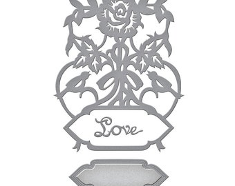 Spellbinders Shapeabilities Rose Bird Topiary  Etched Dies Flower Garden by Sharon Sowell S4-846