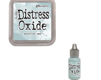Tim Holtz Ranger Distress Oxide Duo-Speckled Egg-DIstressed Oxide Ink Pad and Reinker Bundle