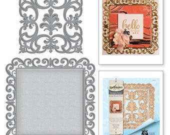Spellbinder Nestabilities Fleur de Square Etched Dies from the Rouge Royale Deux Collection by Stacey Caron S6-114