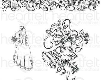 Heartfelt Creations Classic Wedding Bells Cling Stamp Set HCPC-3789