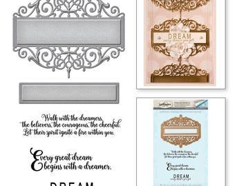 Spellbinders Amazing Paper Grace Vintage Elegance Becca Feeken Beautiful Dreamer Stamp and Die Set SDS-055