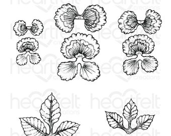 Heartfelt Creations Cheery Pansy Cling Stamp Set HCPC-3862