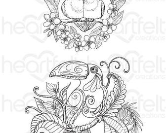 "Heartfelt Creations ""Tropical Parrots"" Cling Stamp Set HCPC-3784"