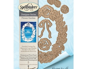 Spellbinders Shapeabilities Dimensional Floral Panel Etched Dies Flower Garden by Sharon Sowell S4-851