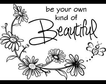 "Magnolia Design Co-Be Your Own Beautiful-Reusable Adhesive Silkscreen Stencil 5""X7""-Chalk Art DIY"