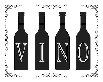 "Magnolia Design Co-Vino-Reusable Adhesive Silkscreen Stencil 8.5"" X 11""-Chalk Art DIY"