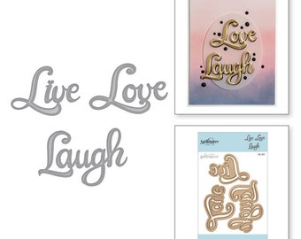 Spellbinders Shapeabilities Live Love Laugh Etched Dies On the Wings of Love Collection by Joanne Fink S3-311