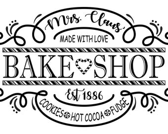 "Magnolia Design Co-Mrs. Claus Bake Shop-Reusable Adhesive Silkscreen Stencil 12"" x 18""-Chalk Art DIY"