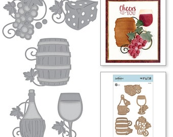 Spellbinders Shapeabilities Wine Charms Etched Dies by Stacey Caron S5-347