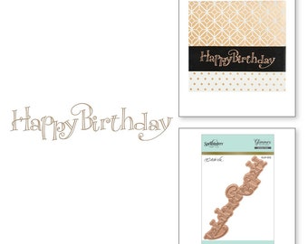 Spellbinders Faux Script Happy Birthday Glimmer Hot Foil Plate By Paul Antonio GLP-012