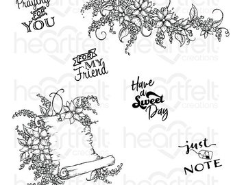 Heartfelt Creations Sweet Lilac Scroll & Notes Cling Stamp Set HCPC-3817