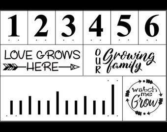 "Magnolia Design Co-Growth Chart-Reusable Adhesive Silkscreen Stencil 12"" x 18""-Chalk Art DIY"