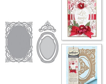 Spellbinders Shapeabilities Annabelle's Trousseau Layering Frame Medium Etched Dies Chantilly Paper Lace Collection by Becca Feeken S5-327