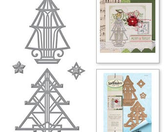 Spellbinders Shapeabilities Stacey Caron Holiday Art Deco Trees Etched Dies S4-657