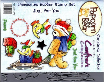 "Crafter's Companion Popcorn the Bear Christmas Collection ""Just for You"" Unmounted Rubber Stamps"