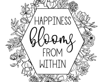 "Magnolia Design Co-Happiness Blooms-Reusable Adhesive Silkscreen Stencil 8.5"" X 11""-Chalk Art DIY"