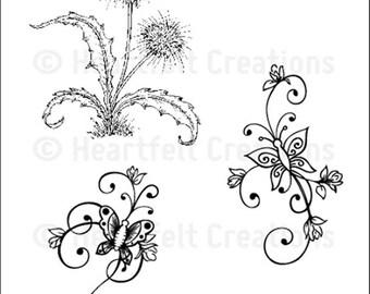 Heartfelt Creations Botanical Swirls Cling Stamp Set HCPC-3654