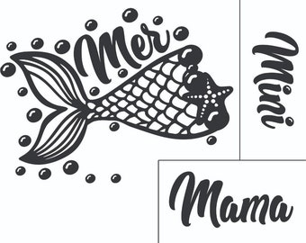 "Magnolia Design Co-Mermama/mini-Reusable Adhesive Silkscreen Stencil 8.5"" X 11""-Chalk Art DIY"