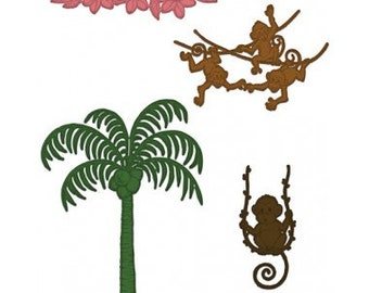 Heartfelt Creations Palm Tree and Monkeys HCD1-7132