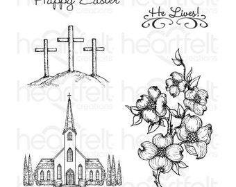 "Heartfelt Creations ""Dogwood Chapel"" Cling Stamp Set HCPC-3776"