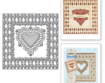 Spellbinders Shapeabilities Laced with Love Lovin' Diamonds Etched Dies S6-019