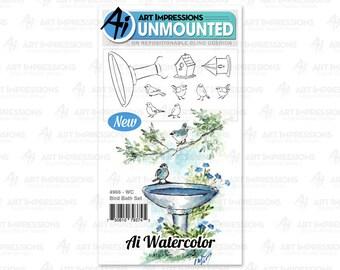 Art Impressions Unmounted Bird Bath Stamp Set 4966 - WC