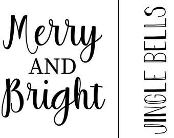 "Magnolia Design Co-Merry and Bright-Reusable Adhesive Silkscreen Stencil 5""X7""-Chalk Art DIY"