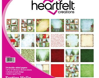 "Heartfelt Creations Festive Holly Collection 12"" x 12"" HCDP1-260"