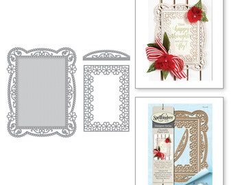 Spellbinders Shapeabilities Tallulah Frill Layering Frame Small Etched Dies Chantilly Paper Lace Collection by Becca Feeken S5-328