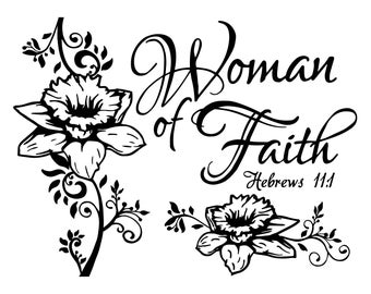 """Magnolia Design Co-Woman of Faith-Reusable Adhesive Silkscreen Stencil 8.5"""" x 11""""-Chalk Art DIY"""
