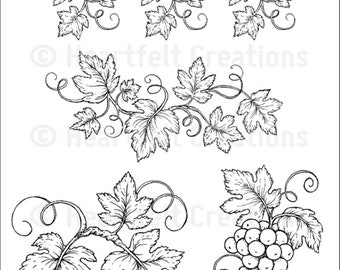 Heartfelt Creations Italiana Grapevines Cling Stamp Set HCPC-3696