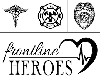 "Magnolia Design Co-Frontline Heroes-Reusable Adhesive Silkscreen Stencil 8.5"" x 11""-Chalk Art DIY"