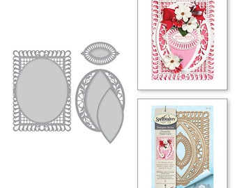 Spellbinders Shapeabilities Bella Rose Lattice Layering Frame Large Etched Dies Chantilly Paper Lace Collection by Becca Feeken S6-129