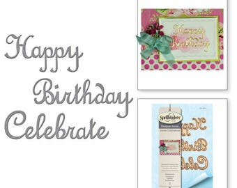 Spellbinders Shapeabilities Sentiments Etched Dies from the Joyous Celebrations Collection by Sharyn Sowell S3-264