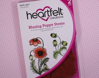 Heartfelt Creations Blazing Poppy Stems Cling Stamp Set HCPC-3677