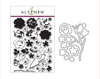 Altenew Vintage Flowers Stamp & Die Bundle