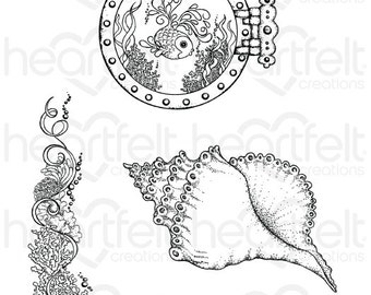 Heartfelt Creations Coral Reef Collage Cling Stamp Set HCPC-3738