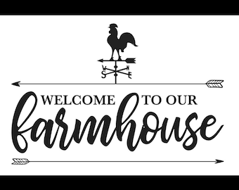 "Magnolia Design Co-Welcome to our farmhouse-Reusable Adhesive Silkscreen Stencil 12"" x 18""-Chalk Art DIY"