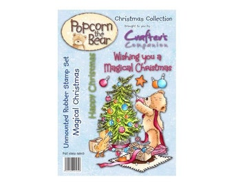 "Crafter's Companion Popcorn the Bear Christmas Collection ""Magical Christmas"" Unmounted Rubber Stamps"
