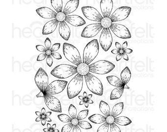 Heartfelt Creations Sun Kissed Fleur Cling Stamp Set HCPC-3533