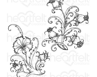 Heartfelt Creations Fanciful Carnation Cling Stamp Set HCPC-3808