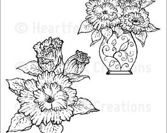Heartfelt Creations Majestic Morning Bouquet Cling Stamp Set HCPC-3582