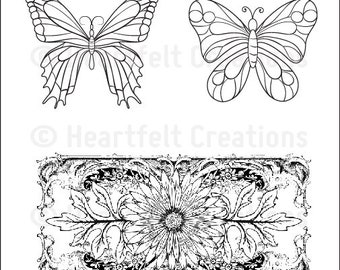 Heartfelt Creations Delicate Asters and Butterflies Cling Stamp Set HCPC-3499