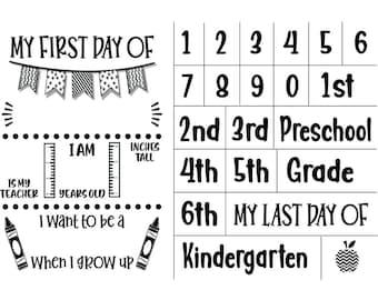 "Magnolia Design Co-First Day of School-Reusable Adhesive Silkscreen Stencil 12"" x 18""-Chalk Art DIY"