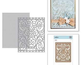 Spellbinders   Card Creator A2 Swirl Background Etched Dies Romancing the Swirl Becca Feeken S5-366