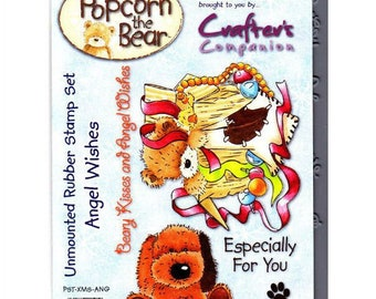 "Crafter's Companion Popcorn the Bear Christmas Collection ""Angel Wishes"" Unmounted Rubber Stamps"