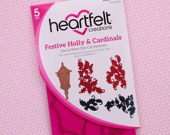 Heartfelt Creations Festive Holly and Cardinals HCD1-7145